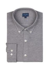 Germirli - Germirli Grey Button Down Collar Piquet Knitted Slim Fit Shirt (1)