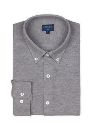Germirli - Germirli Grey Button Down Collar Piquet Knitted Slim Fit Shirt (1)
