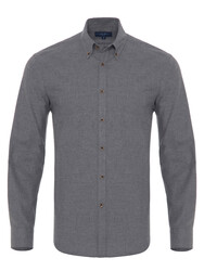 Germirli Grey Flanel Button Down Tailor Fit Shirt - Thumbnail