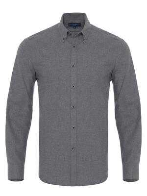 Germirli Grey Flanel Button Down Tailor Fit Shirt
