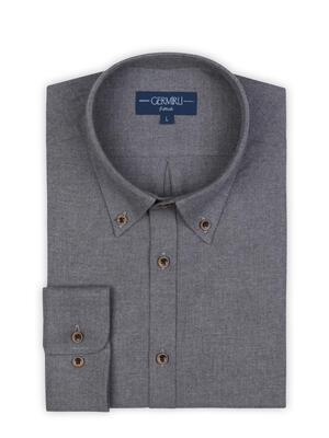 Germirli - Germirli Grey Flanel Button Down Tailor Fit Shirt (1)