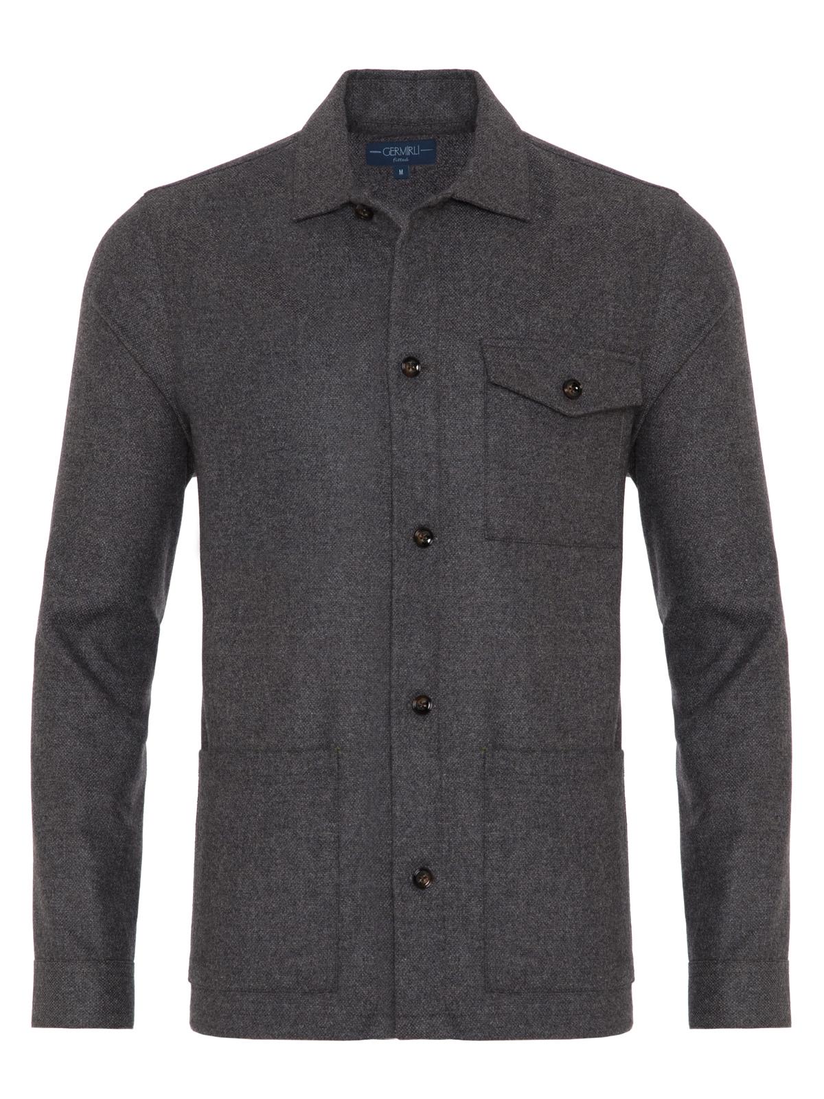 Germirli Gri %100 Yün Tailor Fit Wool Heritage Ceket Gömlek