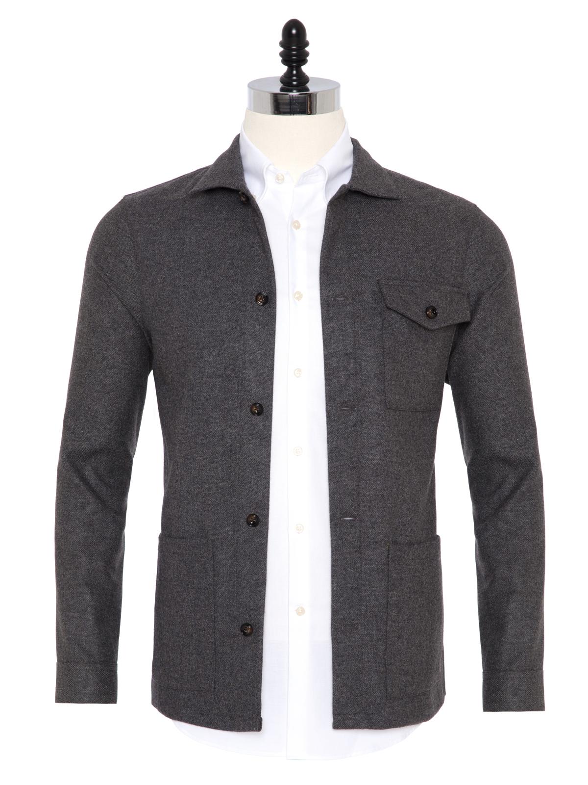 Germirli - Germirli Gri %100 Yün Tailor Fit Wool Heritage Ceket Gömlek