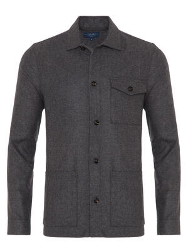 Germirli - Germirli Gri %100 Yün Tailor Fit Wool Heritage Ceket Gömlek (1)