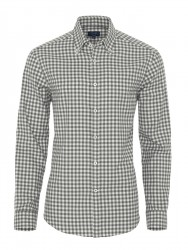 Germirli Gri Beyaz Kareli Flanel Tailor Fit Gömlek - Thumbnail