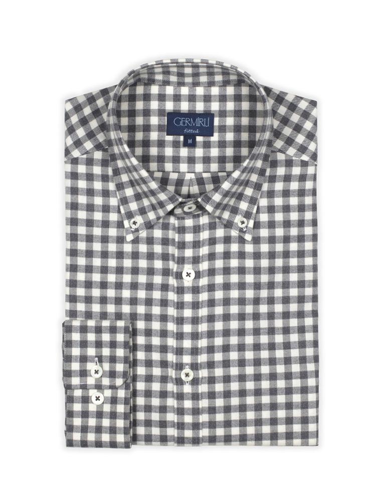 Germirli Gri Beyaz Kareli Flanel Tailor Fit Gömlek