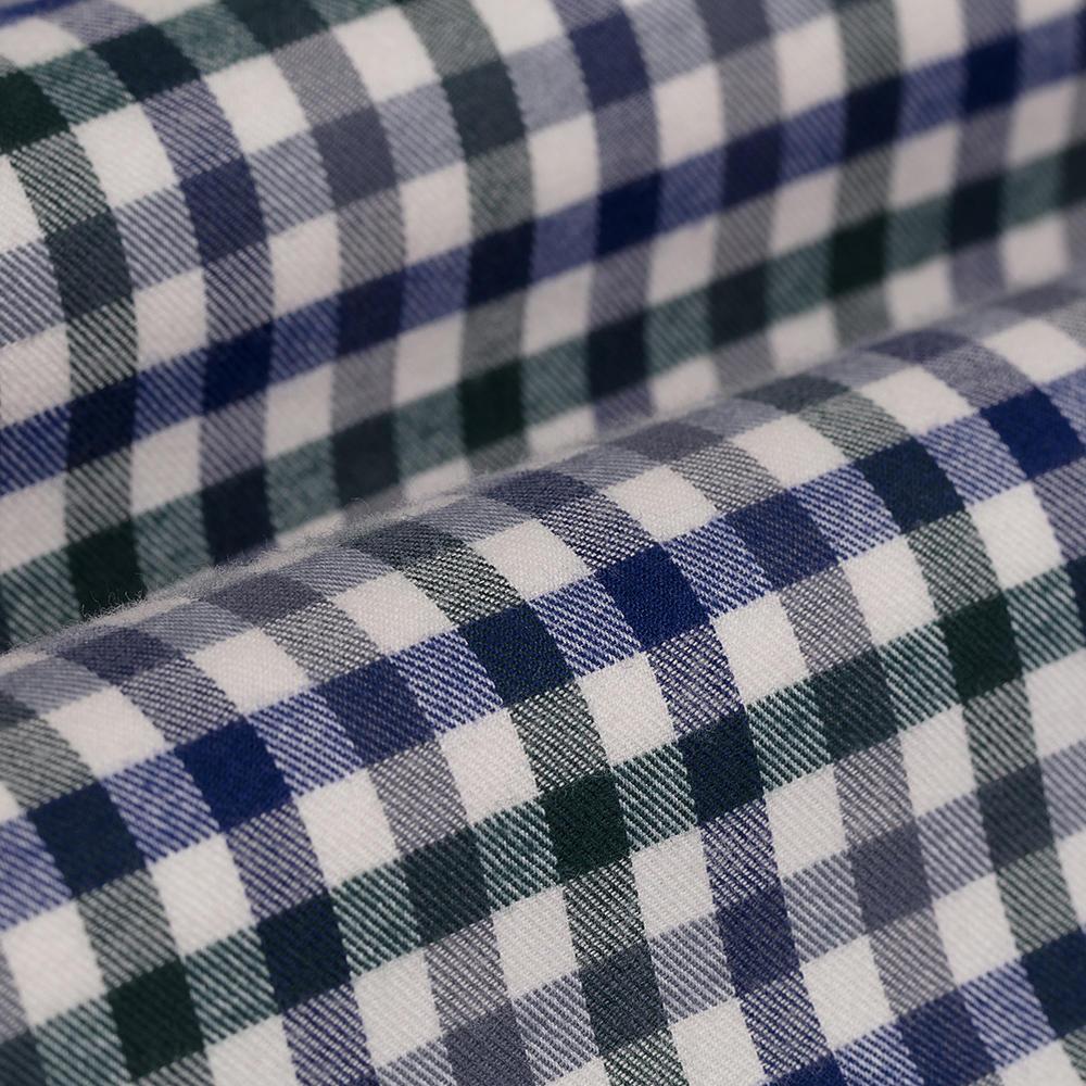 Germirli Gri Beyaz Laci Yeşil Kareli Düğmeli Yaka Flanel Tailor Fit Gömlek