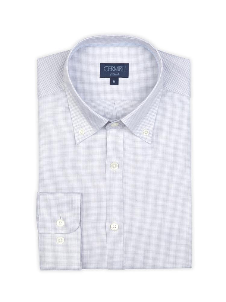 Germirli Gri Desenli Düğmeli Yaka Tailor Fit Gömlek