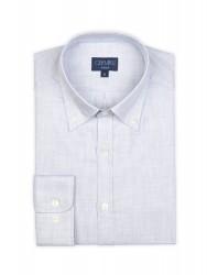 Germirli Gri Desenli Düğmeli Yaka Tailor Fit Gömlek - Thumbnail