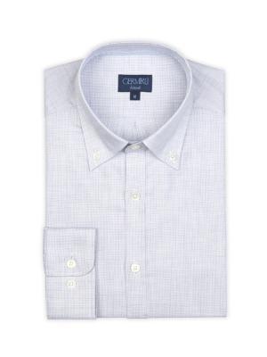 Germirli - Germirli Gri Desenli Düğmeli Yaka Tailor Fit Gömlek (1)