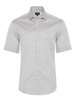 Germirli - Germirli Gri Desenli Klasik Yaka Kısa Kollu Tailor Fit Gömlek