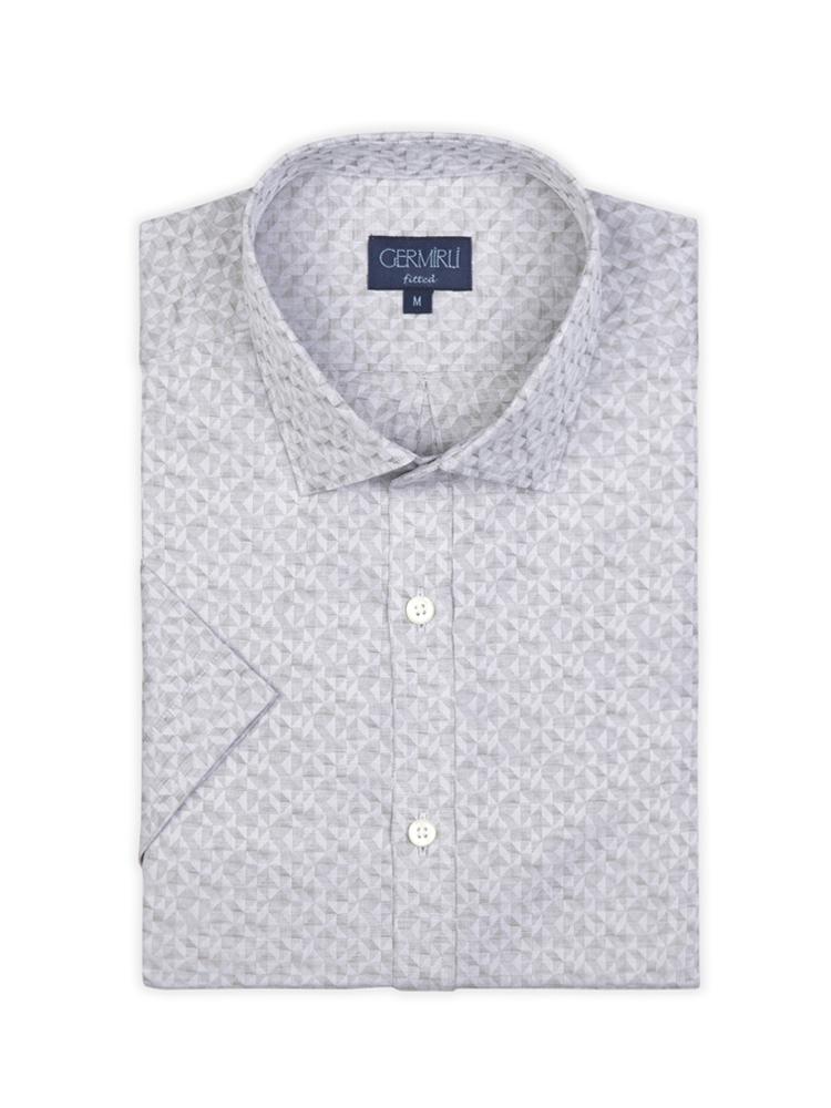 Germirli Gri Desenli Klasik Yaka Kısa Kollu Tailor Fit Gömlek