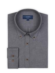 Germirli - Germirli Gri Flanel Düğmeli Yaka Tailor Fit Gömlek (1)