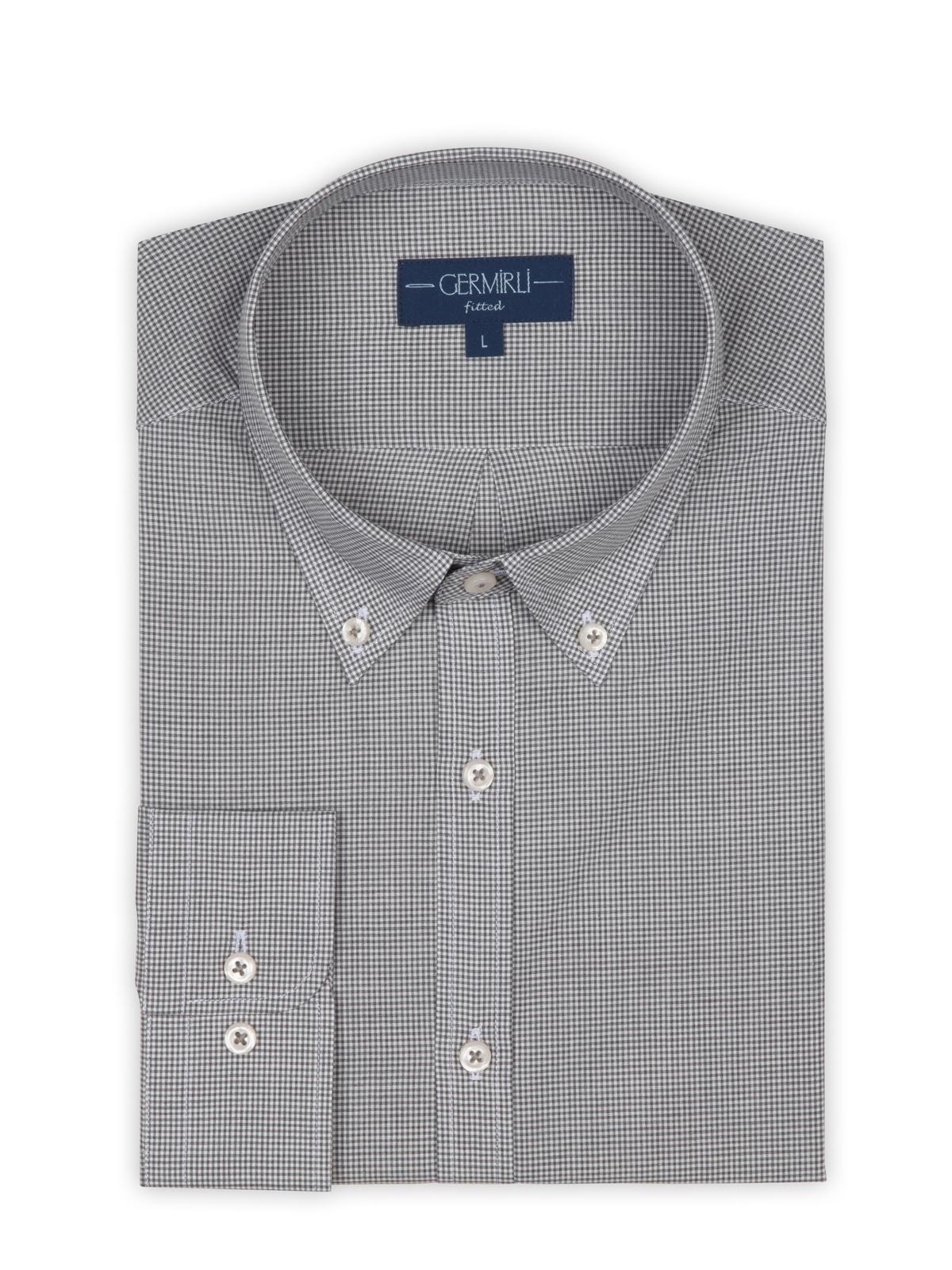 Germirli Gri Kareli Düğmeli Yaka Tailor Fit Vual Gömlek
