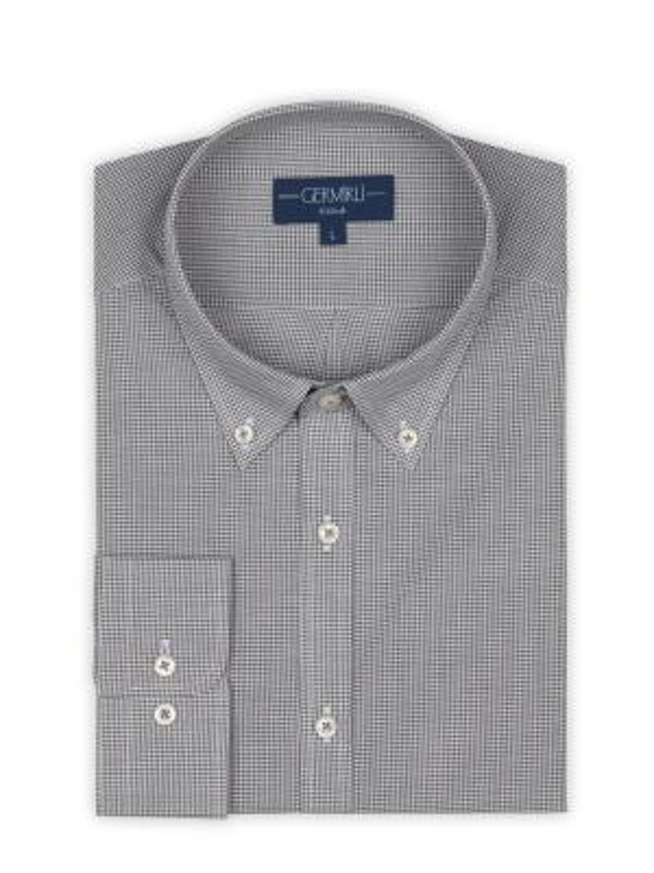 Germirli - Germirli Gri Kareli Düğmeli Yaka Tailor Fit Vual Gömlek (1)