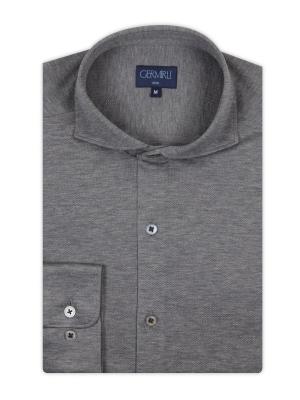 Germirli - Germirli Gri KlasikYaka Örme Slim Fit Gömlek (1)