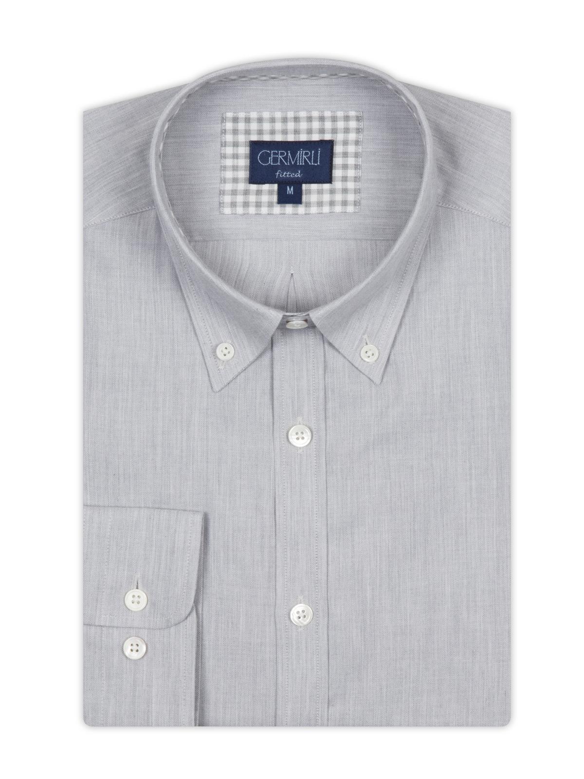 Germirli Gri KotDüğmeli Yaka Tailor Fit Gömlek
