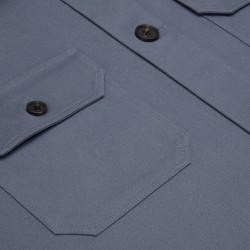 Germirli Gri Mavi Diagonel Dokulu Tailor Fit Ceket Gömlek - Thumbnail