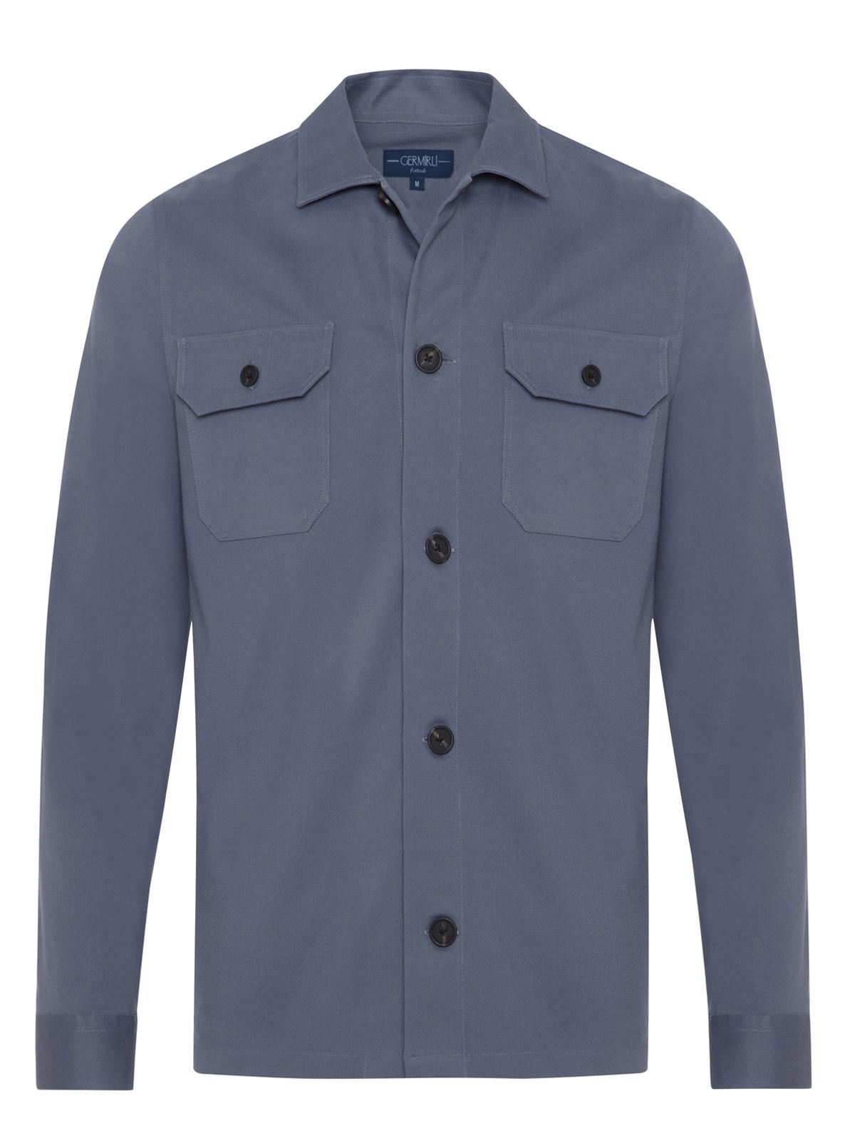 Germirli Gri Mavi Diagonel Dokulu Tailor Fit Ceket Gömlek