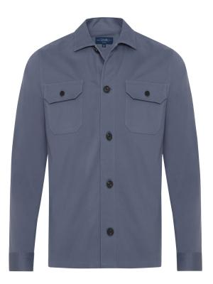 Germirli - Germirli Gri Mavi Diagonel Dokulu Tailor Fit Ceket Gömlek (1)