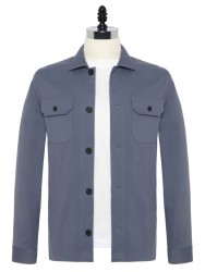 Germirli - Germirli Gri Mavi Diagonel Dokulu Tailor Fit Ceket Gömlek