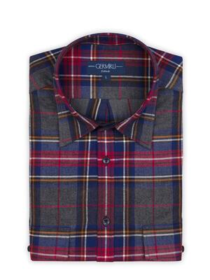 Germirli - Germirli Gri Mavi Kırmızı Kareli Oduncu Tailor Fit Gömlek (1)