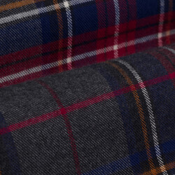 Germirli Gri Mavi Kırmızı Kareli Oduncu Tailor Fit Gömlek - Thumbnail