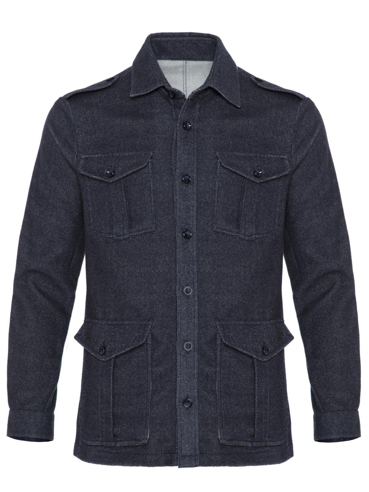 Germirli Gri Mavi Twill Flanel Tailor Fit Ceket Gömlek