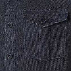 Germirli Gri Mavi Twill Flanel Tailor Fit Ceket Gömlek - Thumbnail