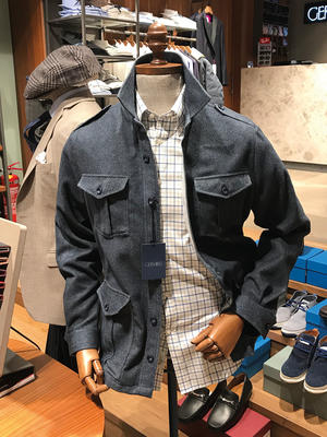 Germirli - Germirli Gri Mavi Twill Flanel Tailor Fit Ceket Gömlek (1)