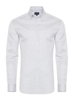 Germirli - Germirli Gri Oxford Düğmeli Yaka Tailor Fit Gömlek