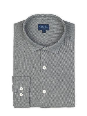 Germirli - Germirli Gri Twill Combed Cotton Fabric Semi Spread Knitting Slim Fit Shirt (1)