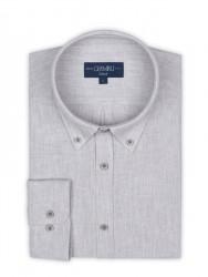 Germirli - Germirli Gri Twill Keten Pamuk Düğmeli Yaka Tailor Fit Gömlek (1)