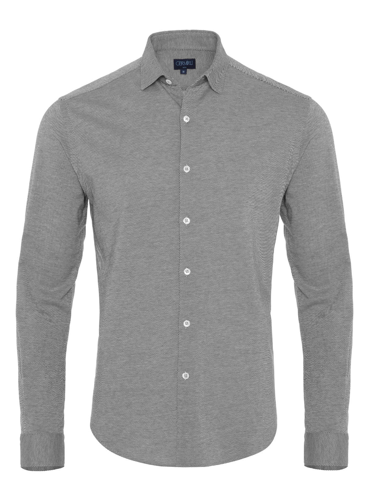 Germirli Gri Twill Penye Klasik Yaka Örme Slim Fit Gömlek