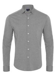 Germirli Gri Twill Penye Klasik Yaka Örme Slim Fit Gömlek - Thumbnail