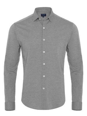 Germirli - Germirli Gri Twill Penye Klasik Yaka Örme Slim Fit Gömlek