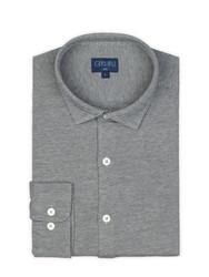 Germirli - Germirli Gri Twill Penye Klasik Yaka Örme Slim Fit Gömlek (1)