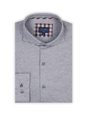 Germirli - Germirli Gri Special Örme Slim Fit Gömlek (1)