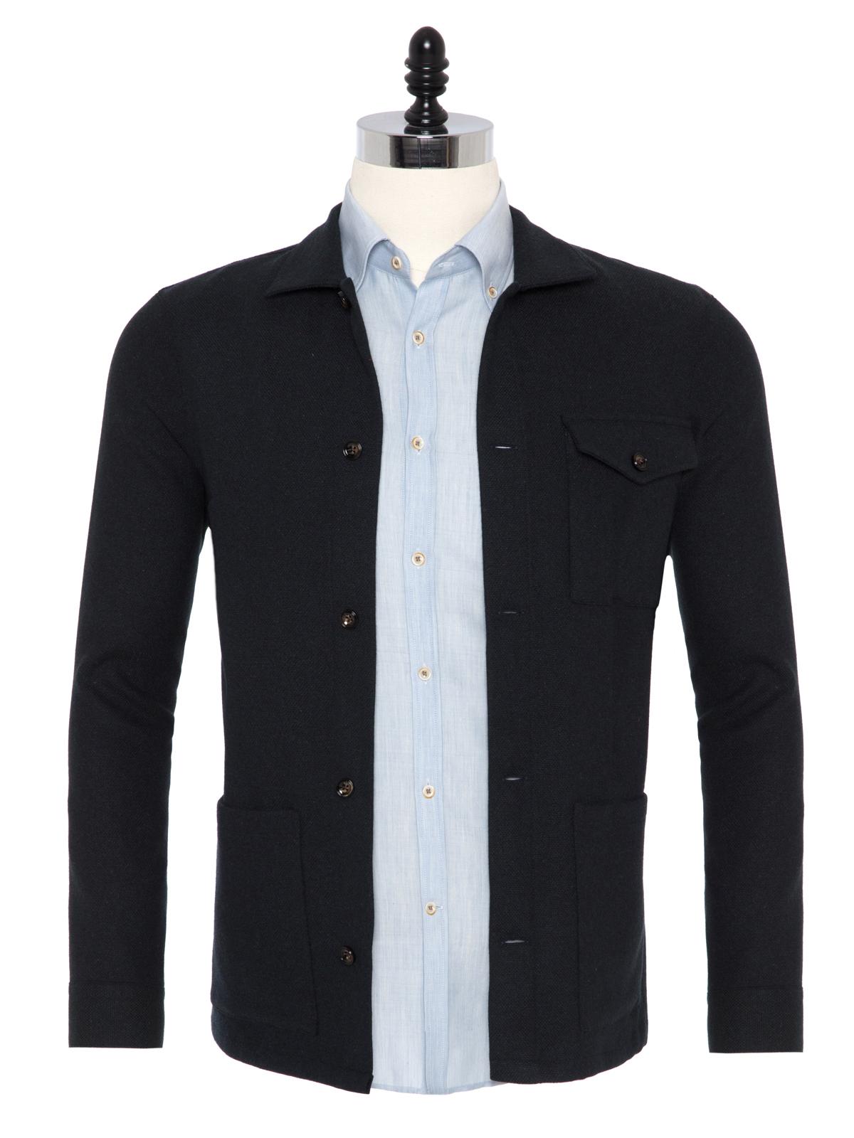 Germirli - Germirli Haki Füme %100 Yün Tailor Fit Wool Heritage Ceket Gömlek