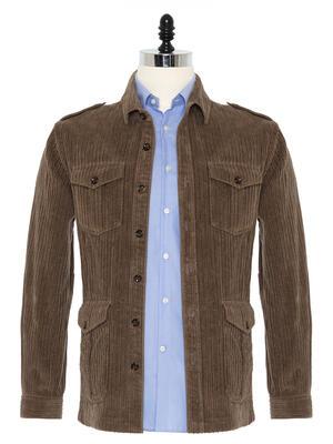 Germirli - Germirli Haki Kalın Fitilli Tailor Fit Ceket Gömlek