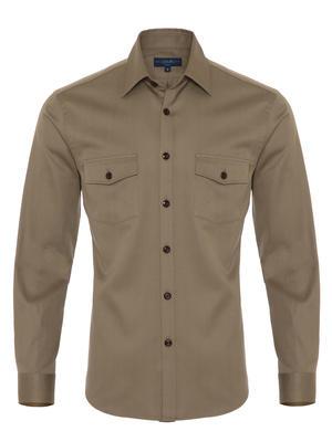 Germirli - Germirli Haki Klasik Yaka Flanel Tailor Fit Overshirt Gömlek