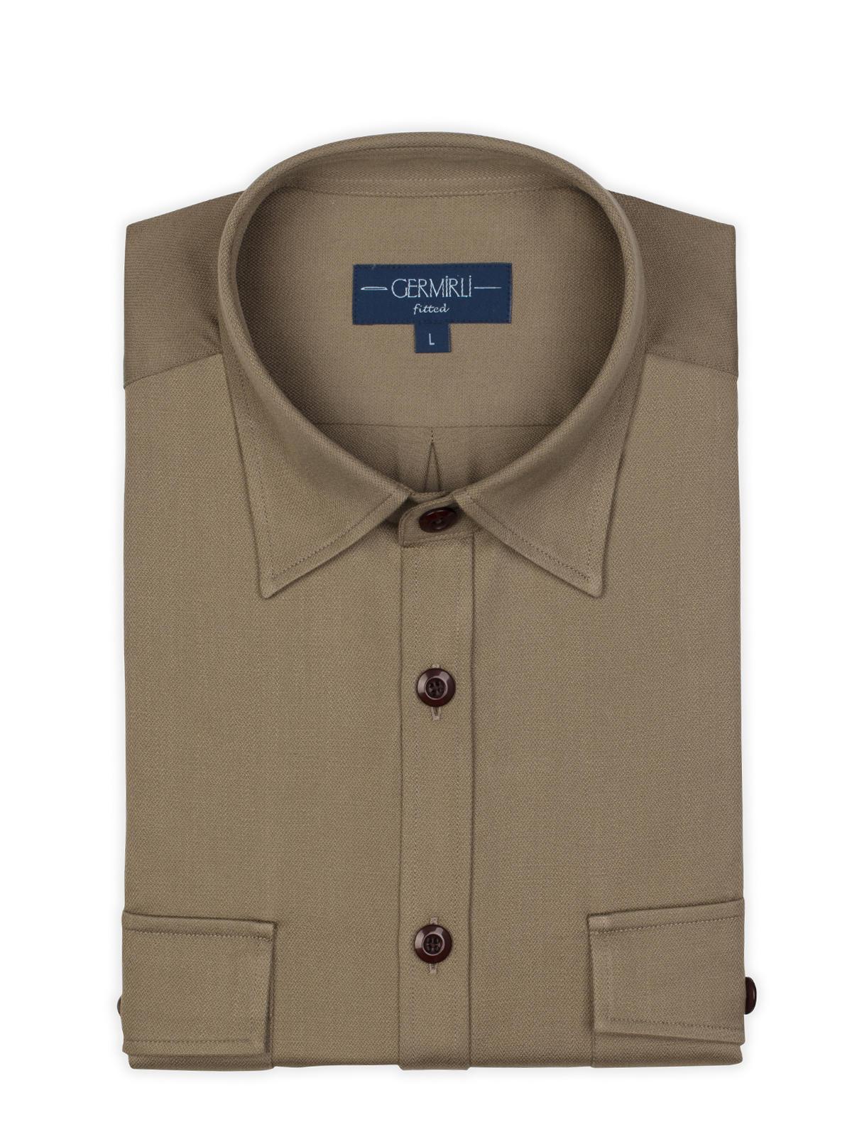 Germirli Haki Klasik Yaka Flanel Tailor Fit Overshirt Gömlek