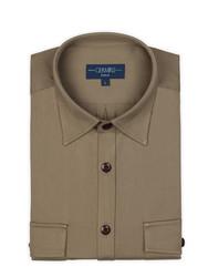 Germirli Haki Klasik Yaka Flanel Tailor Fit Overshirt Gömlek - Thumbnail
