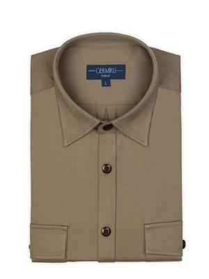 Germirli - Germirli Haki Klasik Yaka Flanel Tailor Fit Overshirt Gömlek (1)
