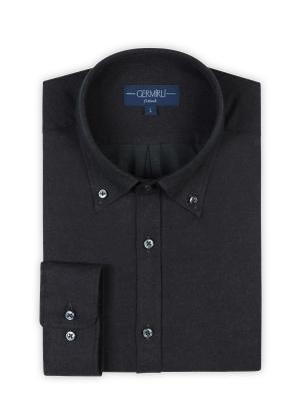 Germirli - Germirli Haki Melanj Flanel Düğmeli Yaka Tailor Fit Gömlek (1)
