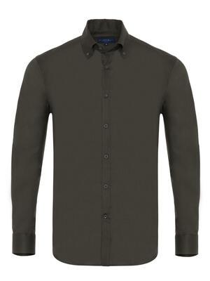 Germirli - Germirli Haki Panama Doku Düğmeli Yaka Tailor Fit Gömlek