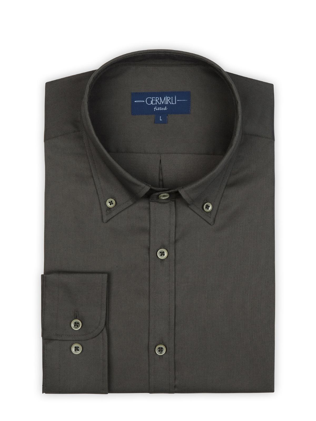Germirli Haki Panama Doku Düğmeli Yaka Tailor Fit Gömlek