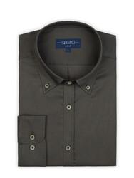 Germirli - Germirli Haki Panama Doku Düğmeli Yaka Tailor Fit Gömlek (1)