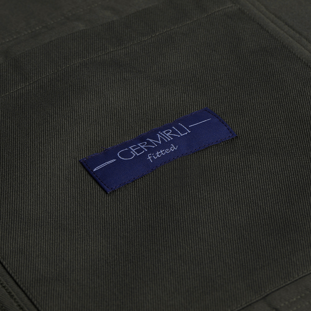 Germirli Haki Tailor Fit Ceket Gömlek