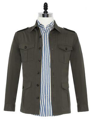Germirli - Germirli Haki Tailor Fit Ceket Gömlek